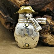 Whimsical Sterling Silver Snowman Pin/pendant With Brass Hat, Nose And Buttons