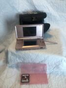 Nintendo Ds Lite Coral Pink Console With Case And Nintendo Dogs Game No Cord