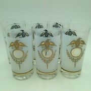 Mid Century Drinking Glasses Gold Eagle And Laurel Wreath Frosted Americana Six