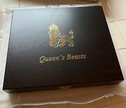 2016-2021 Britain 2 Oz Silver Queenand039s Beasts 10 Coin Complete Set + Wooden Box