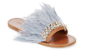 Miu Miu Women's Feather Embellished Leather Flats N4523 Size 7 Us / 37