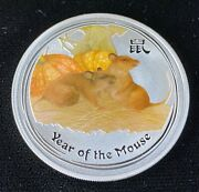 2008 Year Of The Mouse Colorized 1 Oz Silver Australia Lunar Series