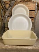 Anchor Hocking Fire King Ivory Loaf Pan 8 Pie Pan And White 8 1/2 Pie Pan