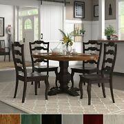 Eleanor Black Extending Oval Wood Table French Back 5-piece