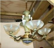 Art Deco Ezan Ceiling Light With Opalescent Glass Shades And Icicles..
