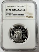 1998 W Platinum 50 American Eagle 1/2 Oz Proof Coin Ngc Pf 70 Ultra Cameo