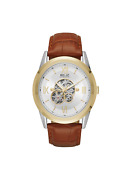 Relic By Fossil Menand039s Blaine Automatic Two-tone And Brown Leather Skeleton Watch
