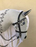 Gothic Inspired Hobbyhorse With Long Yarn Hair, Open Mouth And Removable Bridle