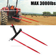 Category 1 Tractors 3 Point Trailer Hitch Quick Attach W / 2x 49andrdquo Hay Bale Spear