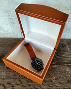 Rare Ebel Genuine Leather Watch Box Swiss Watches Brown Leather