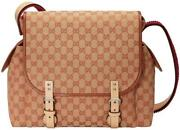 Beige Brick Brown Diaper Red Gg Baby Canvas Leather Logo Bag Itay 1 New
