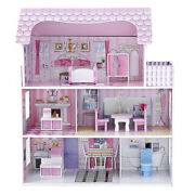 Large Wooden Diy Handmade Assemble 3 Level Doll House With Full Furniture