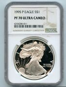 1995-p S1 Proof American Silver Eagle Ngc Pf 70 Ultra Cameo