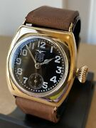 1918 Wwi Elgin Military Black Star Trench Watch - Very Rare Illinois Barrel Case