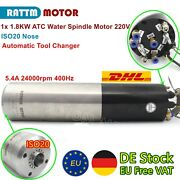 1.8kw 220v Iso20 Water Cooled Atc Milling Spindle Motor Automatic Tool Change fr