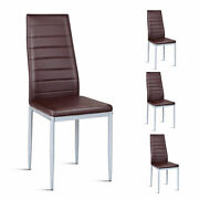 Set Of 4 Pvc Leather Dining Side Chairs Elegant Design Home Furniture Brown New