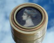 Special Georgian French Portrait Miniature Snuff Box Signed Bourgeois Dated 1811