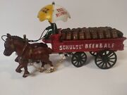 Vintgae - Cast Iron Old Western Schultz Beer And Ale Two Horse Wagon - 14