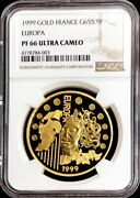 1999 Gold France Europa 655957 Francs 1 Oz Coin Ngc Proof 66 Ultra Cameo