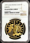 1999 Gold France Europa 655,957 Francs 1 Oz Coin Ngc Proof 66 Ultra Cameo