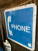 Vintage Authentic Telephone Booth Pay Phone 18 X 18 Plexiglass Sign..