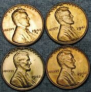 1940-s 1941 1942 1948-s Lincoln Cent Wheat Penny Gem Bu++ Condition ---- N156