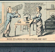 Uncle Sam And Miss Columbia 1800's Brother Jonathan Mrs Potts Sad Iron Trade Card