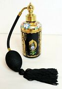 Irice Black Glass Floral Perfume Atomizer Scent Bottle With Dabber Vintage