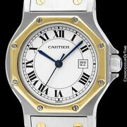 Santos Octagon Mens Unisex Ss Steel And 18k Gold Watch Mint With Warranty