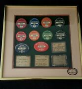 Framed 1933-1941 Tennessee Resident State Wide Hunting Fishing License Pins Es