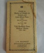 Guide To Marks Of Origin On British And Irish Silver Plate - Old Sheffield - 1968