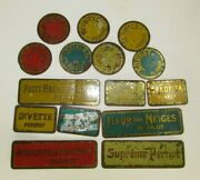 Lot Of Antique Tin Tags For Pernot Biscuits From France