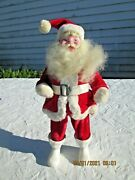 Vintage Harold Gale Santa With Velvet Suite Hard Plastic Boots15 Inches Tall