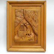 Vintage Wall Plaque Wooden Carved A Woman Water Well Bucket Inside Cave Art