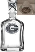University Of Georgia 24-ounce Glass Whiskey Decanter With 2 Pewter Emblems