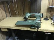 Lewis Union Special 150-2 Blind Stitch Hemmer Sewing Machine With Motor And Table