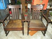Pair Matching Antique Oak Mission Style Rocking Chairs Exc Condition