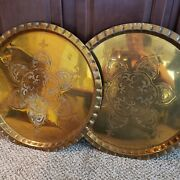 Vintage Pair Large Brass Hanging Platter 22 Made In Hong Kong Absolutely Unique
