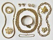 Gold Tone Vintage Brooch Earrings Necklace Costume Jewelry Lot - Some Signed