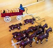Vintage Die Cast Toy Clydesdale Horse Drawn Keg Cart With Drivers And Dog