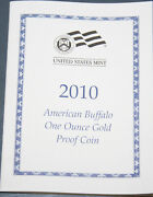 2010-w Gold Buffalo 1 Ounce Proof New Us Mint Product Coa Only, No Coins