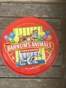 Vintage 1990 Barnums Circus Animal Crackers Tin Pail Red Plastic Handle And Lid