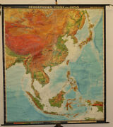 Schulwandkarte Map South-east China Japan Vietnam 77 5/8x88 3/16in 1968