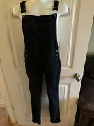 Kancan Ladies Overall Jeans Stretch Skinny Black Size S 119 Side Buttons