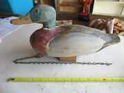 Vintage Wood Mallard Duck Decoy With Stand 14 Long Lot 21-31