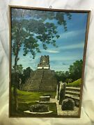 Oil On Canvas Painting, C.a Hernandez Temple Tikal No.2 In Guatemala, Signed Art