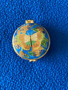 Vintage Cloisonne Butterfly Hinged Pill Snuff Box