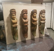 Balinese Safe Passage Spirits 4 Hand Carved From Ancient Boats - One Of A Kind