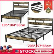 Vintage Style Full/queen Size Metal Platform Bed Frame With Wooden Headboard Us