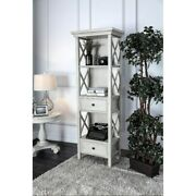 Wooden Pier Stand With Two Drawer And Three Shelves, Antique White Americana